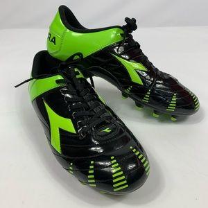 Diadora Men's Black Green Soccer Shoes Cleats 7.5